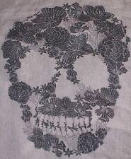 Skull Infinity Scarf Gray & Blue Print 2 Scarf Set Designer Eternity Circle New