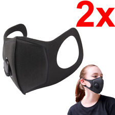 [2-Pack] Breathable Reusable Washable Flexible Face Covering Mask with Valve