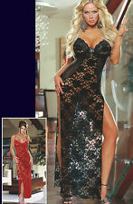 STUNNING RED LONG LACE & MESH SLIT PLUNGING GOWN DRESS SHEER BURLESQUE S M 10 12