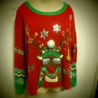 "33 Degrees Plus Size XXL Red & Green Rudolph Embroidered ""Ugly"" Christmas"