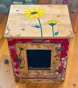 Burnt Wood, Sunflower Nightstand, farmhouse Furniture, end table, side table