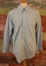 Brooks Brothers SLIM FIT NON-IRON 17-34 Blue & White Button Down Dress Shirt