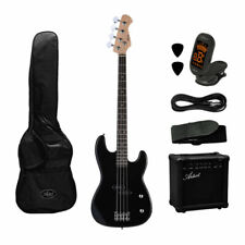 Artist PB2BK Electric Bass Guitar with AMP and Accessories - Black