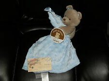 CARTERS SECURITY BLANKET BLUE BEAR BROWN EMBOSSED DOT VELOUR FULL BODY