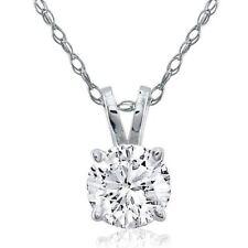 .80CT GENUINE ROUND F/SI1 DIAMOND 14K GOLD SOLITAIRE PENDANT & CHAIN