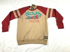 Von Dutch - Men's - Fleece Long Sleeve Tee - Size 2X-Large - Taupe/Red
