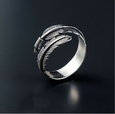 925 Sterling Silver Feather Open Rings For Women Ancient Style Plume Adjustable