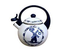 Flötenkessel Emailliert  2.2L Wasserkessel Emaille Holland Motiv Delfts Blau