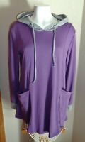 Valolia Women's Size L Purple Gray Hooded Top Tunic Hoodie NEW