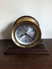 Vintage Chelsea Ship Strike Quartz Brass Mantle Clock w/Mahogany Wood Base