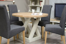 Z Oak Painted Dining Room Furniture Round Dining Table (Natural Top)