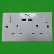 blanco, 2 tomas y dos 2.1a Cargador USB Puertos Conmutador 13a Doble Enchufe GB