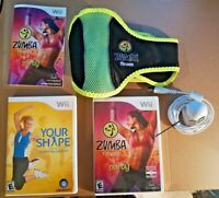 Zumba Fitness Party & Your Shape Nintendo Wii w/ Fitness Belt Camera & Guides