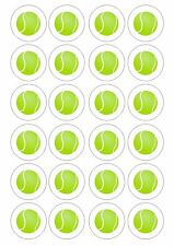 24 Edible Tennis Balls Ball Wafer Rice Toppers for Cupcake or Fairy Cake Topper