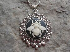 UNIQUE BEE CAMEO NECKLACE ( IVORY ON BLACK)!! .925 SILV. PLATE CHAIN!! UNIQUE!!!