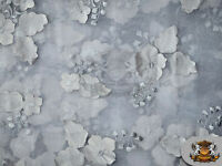 """powered byOrganza Floral Applique Fabric SILVER / 54"""" Wide / Sold by the yard"""