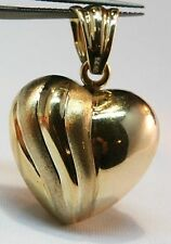 GOLD PUFFY HEART PENANDT GENUINE 14K YELLOW SATIN 3.5g