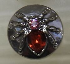 Silver Spider with Pink & Red back Stones Noosa Style Snap Button