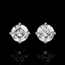 3Ct Brilliant Round Basket Screw Back Stud Earrings 14K Solid White Gold