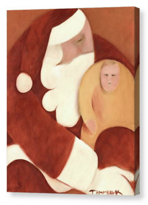 SANTA CLAUS GIFT CHRISTMAS DECORATION CHILD SANTA WALL ART ARTWORK CANVAS ART