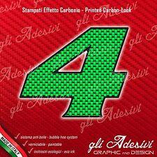 Adesivo Stickers NUMERO 4 moto auto cross gara Carbon Effect Green 5 cm