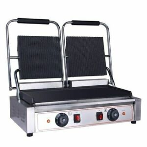 New Electric Ribbed & Flat Double Sided Plates Panini Sandwich Toaster Machine