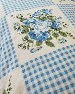 2 Vintage Handmade Standard Pillowcases Blue Floral Gingham SO SOFT! Glamping