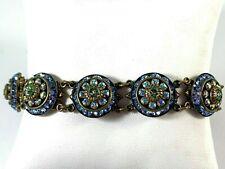 Rare Liz Palacios S.F. Blue & Green Crystal Brass flower Antique Style Bracelet