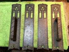 2 Large Antique Cast Iron Exterior Church Door Handles And Interior Push Plates