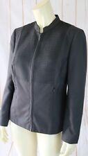 Worth Blazer 8 Silk Zip Front Gray Decorative Pleat Bib Lined Half Collar Chic
