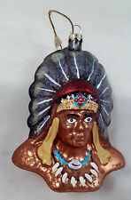 GREAT INDIAN CHIEF Western Americana Glass Ornament  New