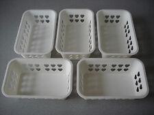 Set of 5 Plastic White Kitchen Mini Baskets for Household. New 19x12cm, 7.5x5inc