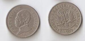 Haiti 20 centimes 1907 President Pierre Nord Alexis