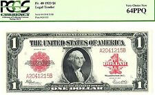 "BEAUTIFUL VERY CHOICE CU 1923 $1 ""RED SEAL""  US NOTE PCGS 64 PPQ  ""EYE CANDY"""