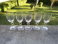 5 anciens beaux verres à porto Portieux modèle Emma guirlandes étoiles 10,8 cm.
