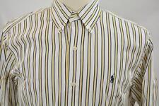 Ralph Lauren Medium Classic Fit Blue Yellow Stripe Long Sleeve Dress Shirt Polo