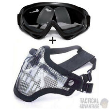 Airsoft Wire Mesh Fang Mask + Grey X400 Goggles Face Protection Glasses Strike