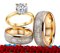 His and Her Tungsten meteorite gold Arrows Cz Sterling Silver Wedding Ring Set