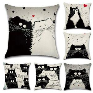 Cartoon Cat Linen Cushion Cover 45X45cm Home Decorative Pillows Cover For Sofa