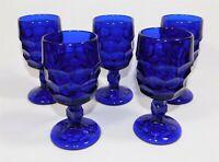 "5 Viking Glass Georgian Cobalt Blue Honeycomb Wine Goblet Set 5.25"""
