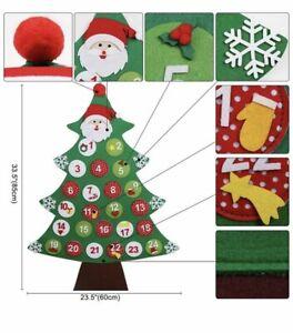 Felt Christmas Tree Fabric Advent Calendar Countdown To Christmas Wall Hanging