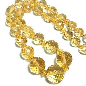 """Antique Art Deco Yellow Crystal Necklace Choker Graduated Faceted Bead 17"""" Czech"""