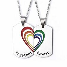 Gay Pride Together Forever 2 Piece Heart Pendant Necklace Set Dog Tags
