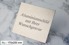 TÜRSCHILD 170x250mm - Namenschild Alu silber selbstklebend - mit WUNSCHGRAVUR