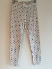H & M, 5 - 6  Years, Girls Leggings Cream with purple/lilac spots, Cropped