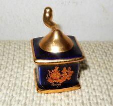 Limoges France Porcelaine Miniature Mini Coffee Grinder 22K Gold Cobalt Blue