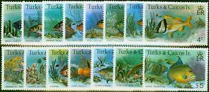 Turks & Caicos 1978 Fish Set of 15 SG514a-528a Fine Mtd Mint