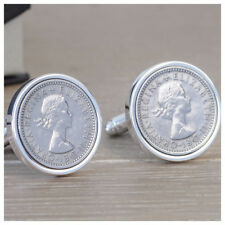 Personalised Sixpence Silver Coin Cufflinks Wedding Mens Birthday Anniversary