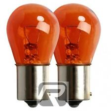 2 x 581 Amber Indicator Car Bulbs, E-Marked Orange 12V 21W BAU15S Auxiliary Bulb