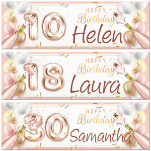 2 personalised birthday banner rose gold champagne balloon adults party poster